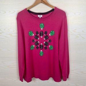 {NEW} Crown & Ivy Ladybug Pink Sweater